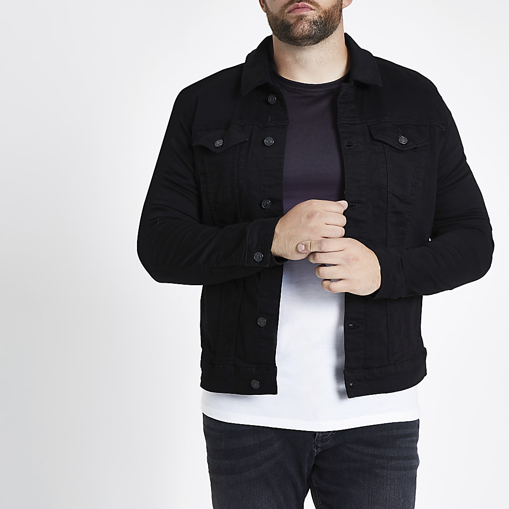 Big and Tall – Veste en jean noire