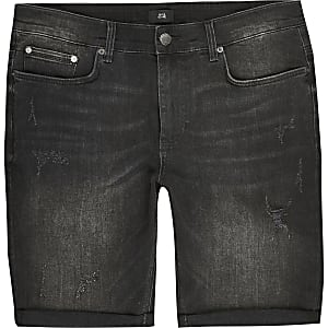 Big and Tall – Shorts en denim skinny noir