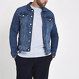 Big & Tall – Blaue Jeansjacke