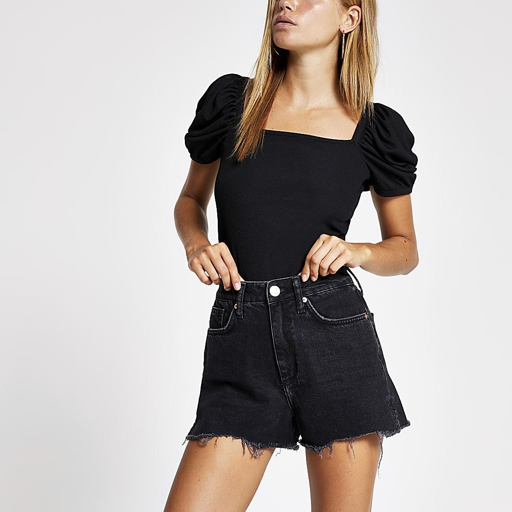 Annie – Schwarze Jeansshorts mit hohem Bund