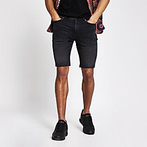 Sid – Abgeschnittene Skinny Fit Jeansshorts in Schwarz
