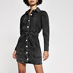 Mini-robe chemise en denimnoirà manches bouffantes