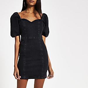 Mini-robe ajustée noire en denim à manches bouffantes