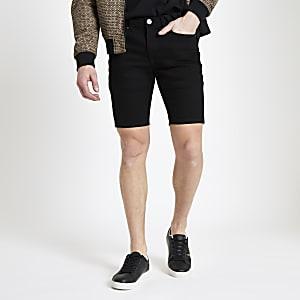 Short skinny en denim noir