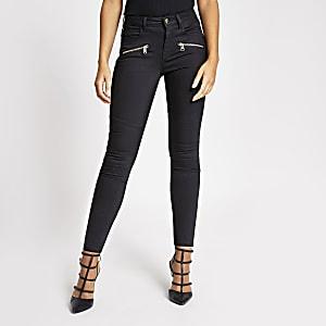 Schwarze Skinny-Jeans im Biker-Stil mit Reißverschluss vorne