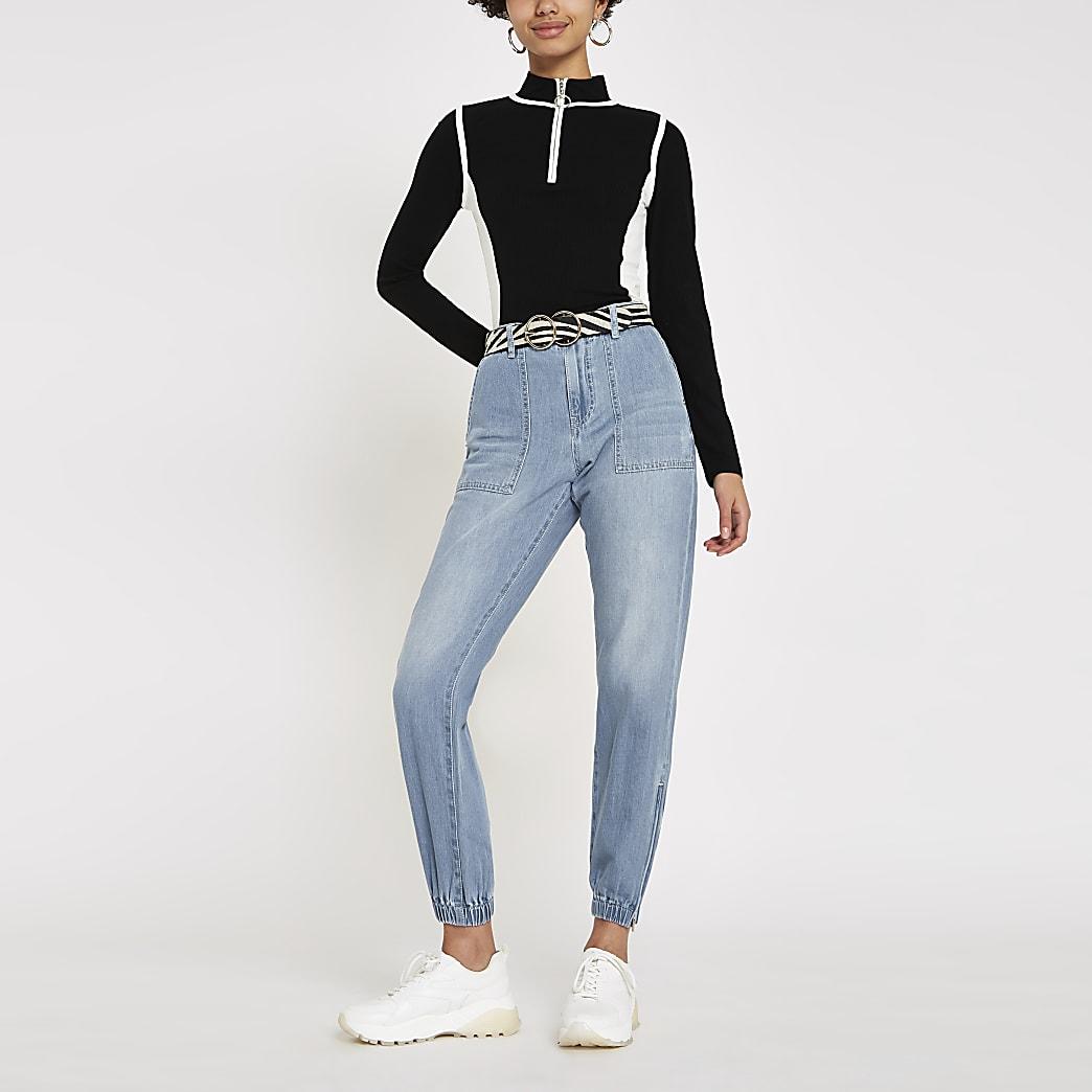 Jean bleu style pantalon de jogging