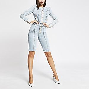 Blaue High-Rise-Jeansshorts mit Knopfleiste