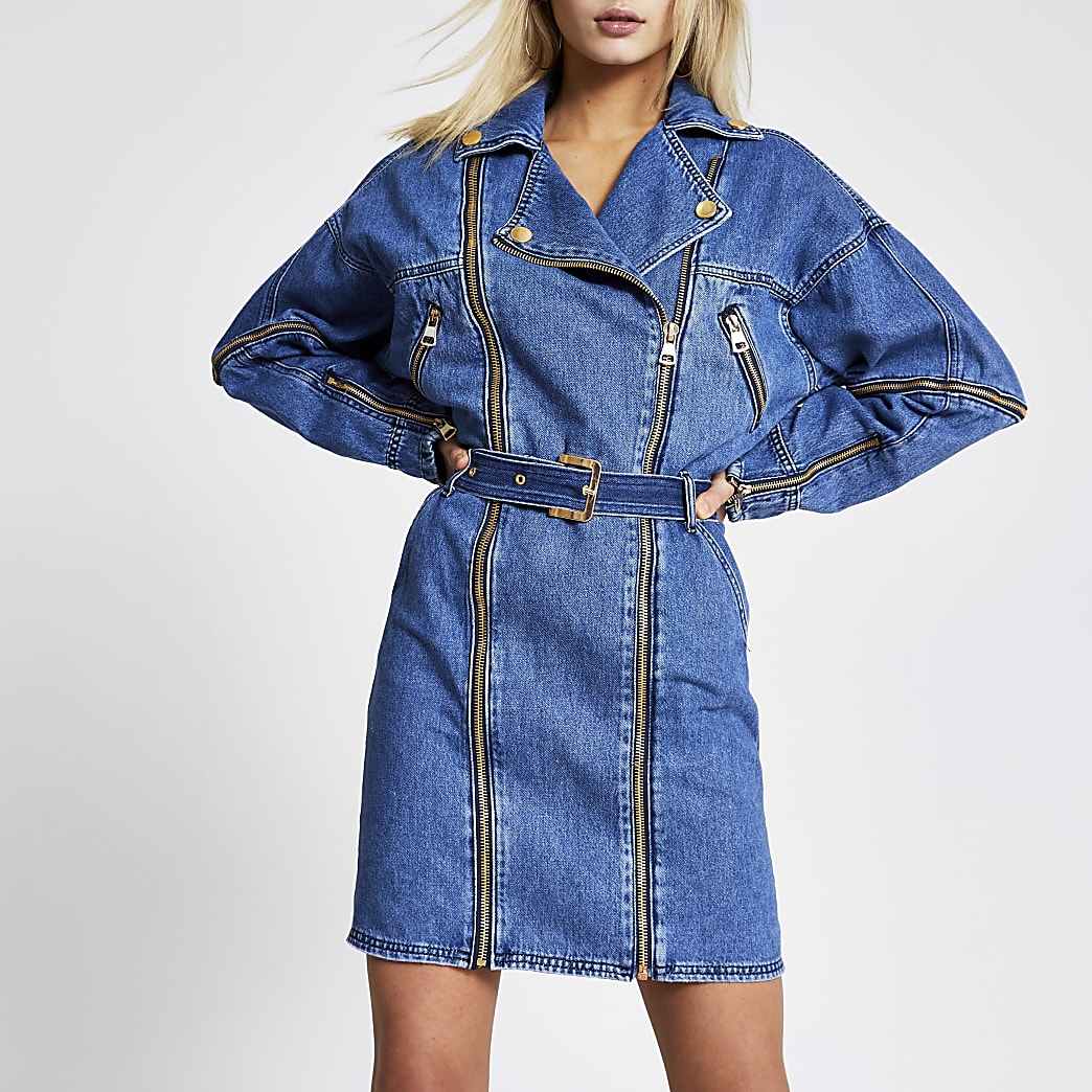 Blaues, langärmeliges Jeans-Minikleid im Biker-Look