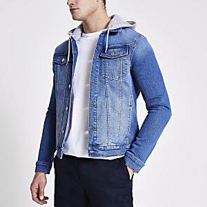 Veste ajustée en denim bleu à capuche