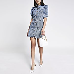 Mini-robe ceinturée en denimbleu à manches bouffantes