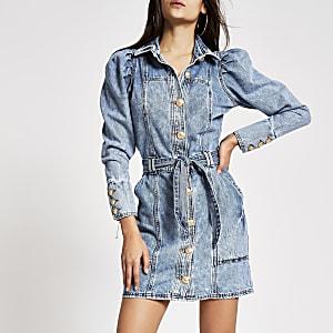 Blaues Minikleid aus Jeans mit Puffärmeln und Bindegürtel