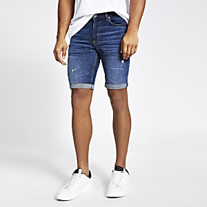 Sid – Blaue Skinny Fit Jeansshorts im Used-Look