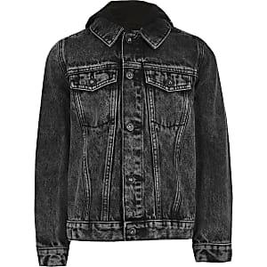Prolific – Schwarze Jeansjacke mit Kapuze
