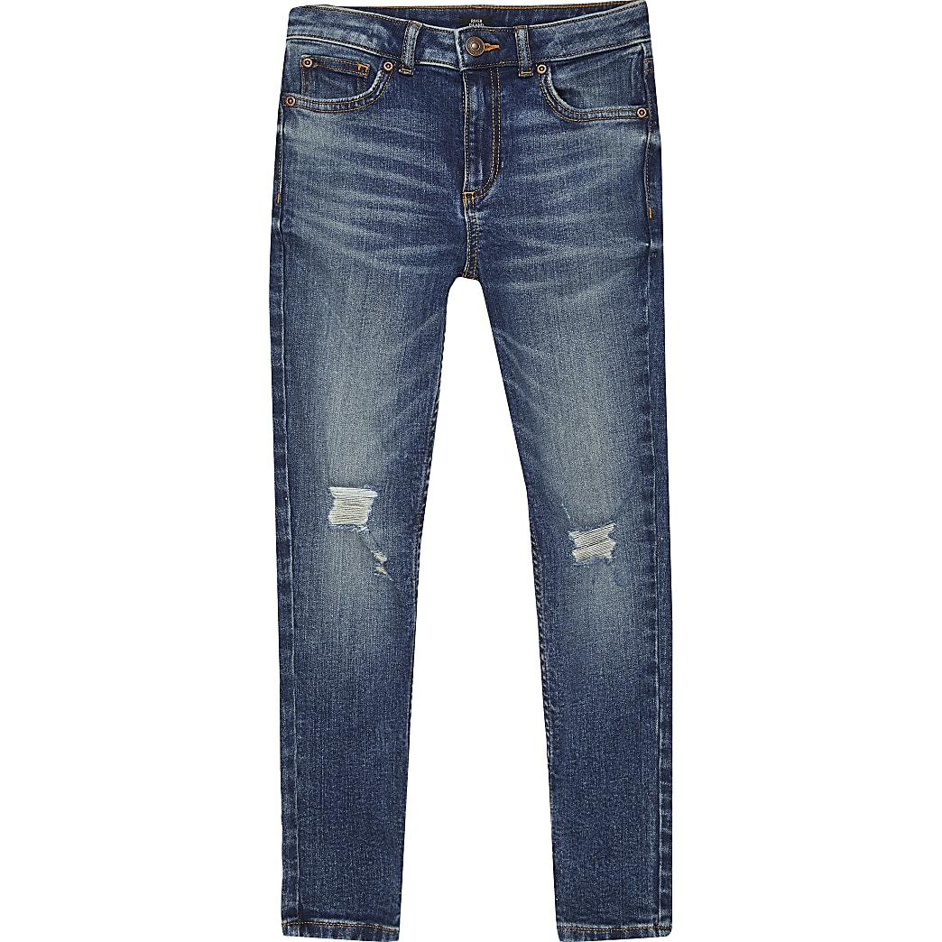 Dunkelblaue Skinny Fit Sid Jeans im Used-Look für Jungen