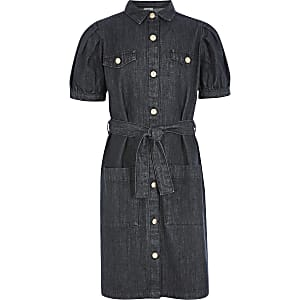 Robe en denimnoir avec manches bouffantes et ceinture pour fille