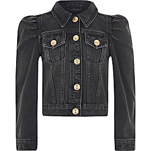 Schwarze Jeansjacke mit Puffärmeln für Mädchen