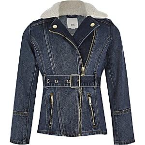 Veste en denimavec col borg et ceinture bleue pour fille