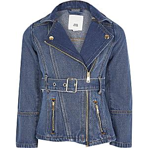 Blaue Long-Jeansjacke mit Gürtel