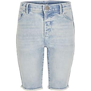Blaue Jeans-Radlerhosen