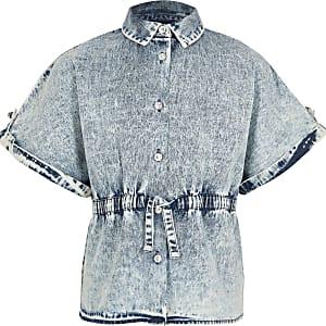 Chemise en denimavec ceintureà cordons bleue pour fille