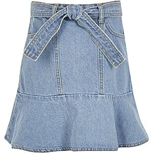 Jupe en denim avec ceinture nouée et volants bleue pour fille