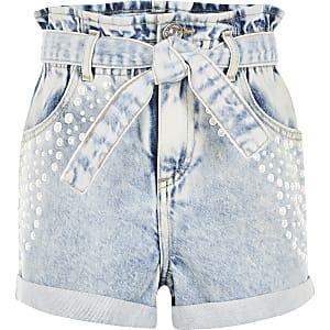 Shorts en denimbleusornés de perles pour fille
