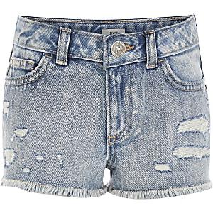 Blaue Boyfriend Fit Jeansshorts im Used Look für Mädchen