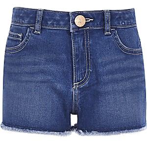 Becca – Mittelblaue Boyfriend-Jeansshorts aus Denim für Mädchen