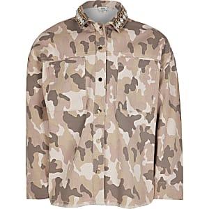 Chemiseavec col orné en denim camouflage rose pour fille