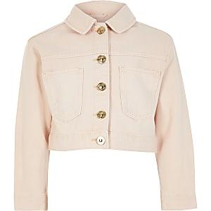 Veste courte en denim rose pour fille