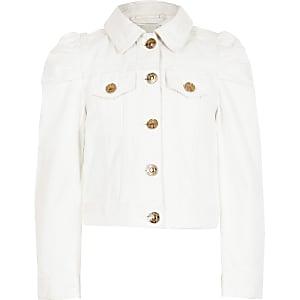 Veste en denim à manches bouffantes blanche pour fille