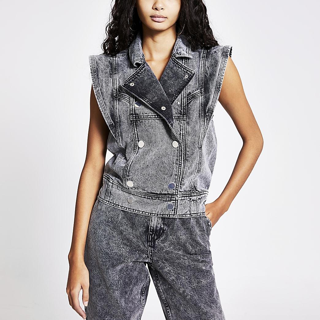 Zweireihige Oversized-Jeansweste in Grau