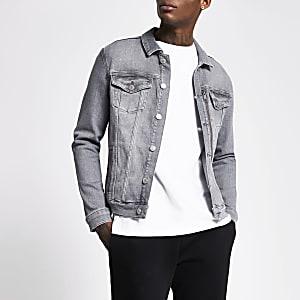 Graue Classic Fit Jeansjacke mit Reißverschlusstasche