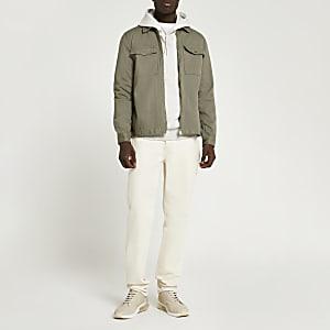 Jeansüberhemd in Khaki mit Frontreißverschluss