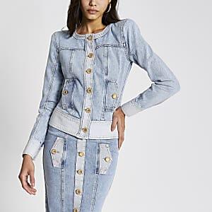 Hellblaue Jeansjacke mit Schulterpolstern