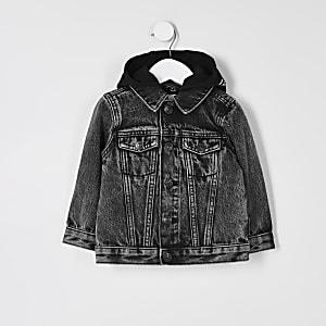 Mini – Prolific – Schwarze Jeansjacke mit Kapuze
