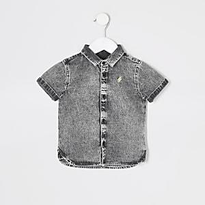 Mini – Jeanshemd in grauer Waschung