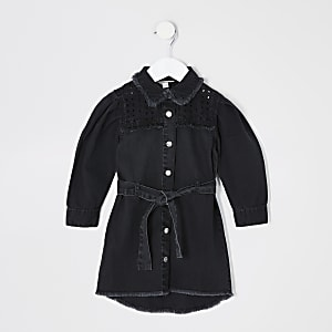 Mini – Schwarzes Jeans-Blusenkleid mit Zierausschnitten