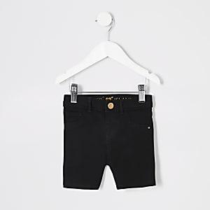 Schwarze Radler-Jeansshorts für kleine Mädchen