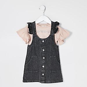 Tenue avec robe chasuble en denim noir Mini fille
