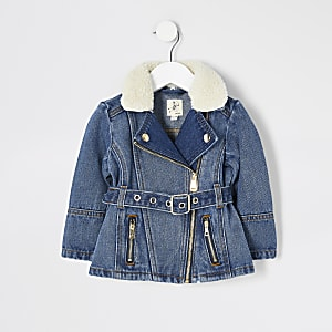 Mini – Blauer Jeansjacke mit Gürtel