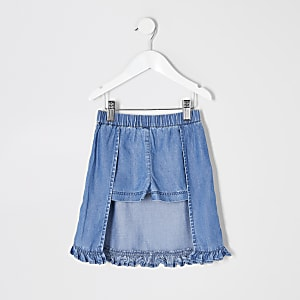 Mini-Rock mit Rüschen für Mädchen in Blau