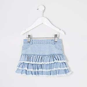 Mini– Blauer Jeansrock mit Rüschen für Mädchen