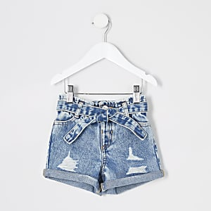 Mini – Blaue Paperbag-Jeansshorts im Used-Look
