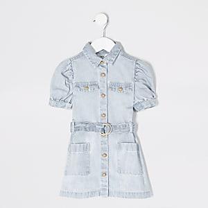 Mini – Jeansblusenkleid mit Puffärmeln