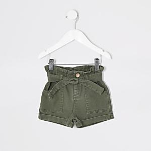 Mini – Paperbag-Jeansshorts in Khaki