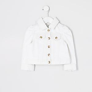 Mini – Weiße Jeansjacke mit Puffärmeln