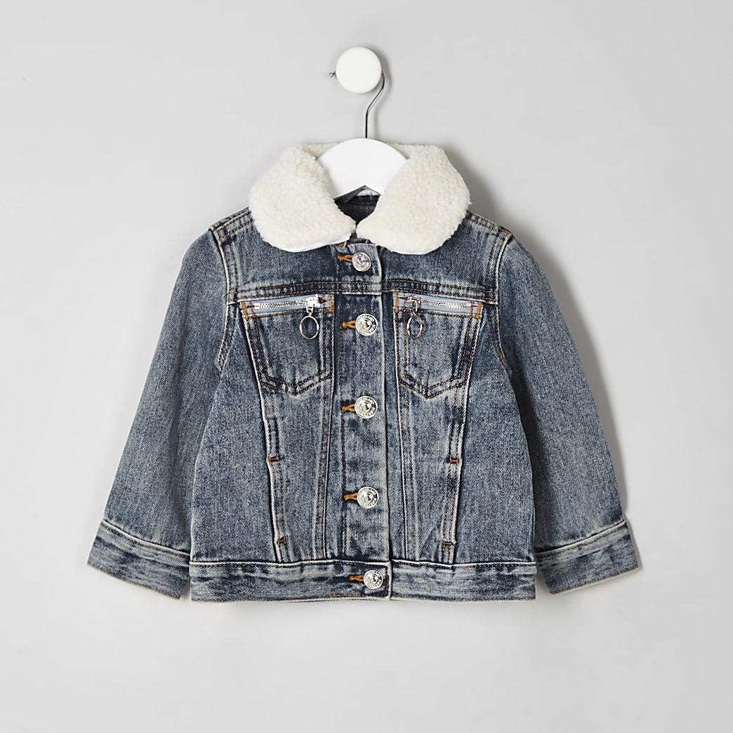 Veste en jean à col imitation mouton mini enfant
