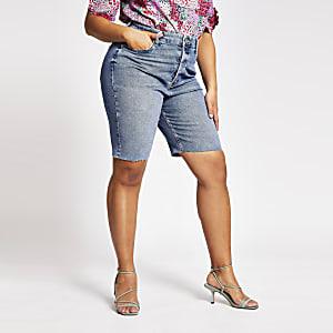 Plus – Blaue Long-Jeansshorts im Mom-Stil