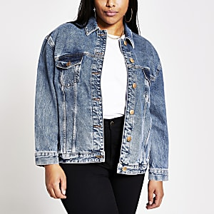 Plus – Veste oversize en denim bleu